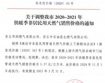 山东省安丘市调整2020-2021年供暖季非居民用<em>天然气销售价格</em>