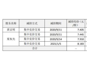 <em>泰胜风能</em>2名股东合计减持907万股 套现合计约7013.76万元
