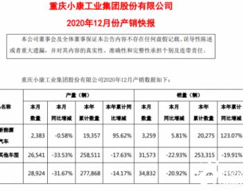 同比增长123.07%!小康股份2020年新能源汽车销售2.03万辆