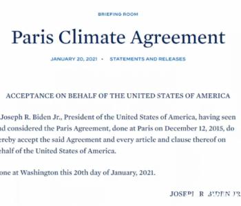 """拜登上任第一天不仅重返巴黎协定,还签署了""""恢复"""