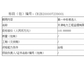 中标丨天津滨海新区小王庄风电项目工程监理服务公开招标中标候选人公示