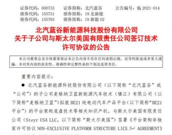 固定价格5000万欧元 <em>北汽</em>蓝谷拟签署电动车平台技术许可协议