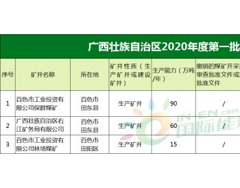 广西壮族自治区2020年第一批煤炭去产能公告