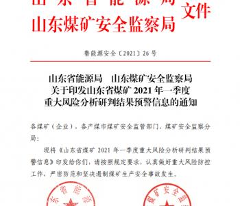 山东省能源局 山东煤矿安全监察局印发山东省煤矿2021年一季度