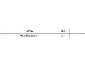2021年1月份海南省液化石油气价格