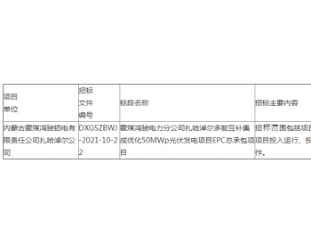 招标|霍煤鸿骏<em>电力</em>分公司扎哈淖尔多能互补集成优化50MWp<em>光伏</em>发电项目EPC总承包项目...