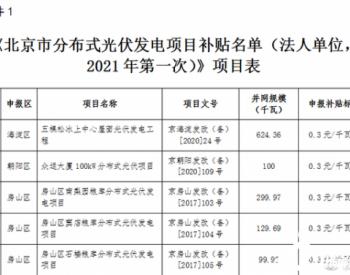 2021年第一批分布式光伏发电项目补贴名单公示