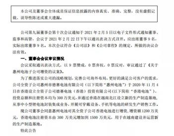 德赛电池拟1200万美元增资孙公司 用于越南基地建设