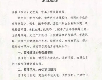 山東濱州暫停全市光伏風電項目建設與簽約
