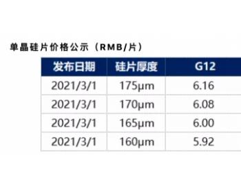 """中环股份公示3月单晶硅片最新价格:G12、M6""""厚薄""""价格不一"""