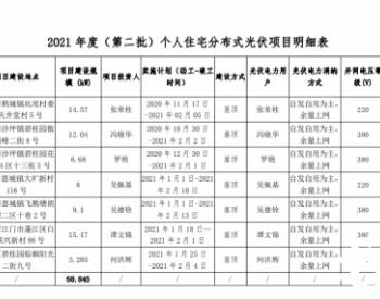 广东江门市2021年度(第二批)个人住宅分布式光伏发电项目备案的复函