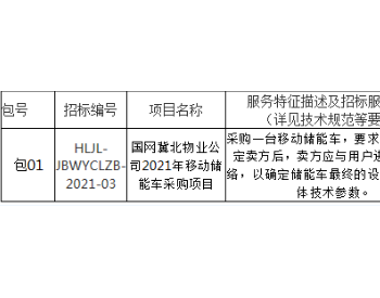 招标 | 国网冀北物业公司2021年移动储能车采购项目招标公告