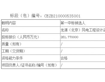 中标丨辽宁彰武马蹄山49.5MW<em>风电项目勘测</em>设计服务公开招标中标候选人公示