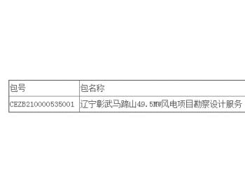 中标丨辽宁彰武马蹄山49.5MW<em>风电项目勘测</em>设计服务公开招标中标结果公告