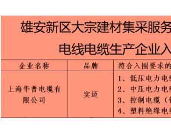 华普电缆入围河北雄安新区 首批电线电缆合格供应