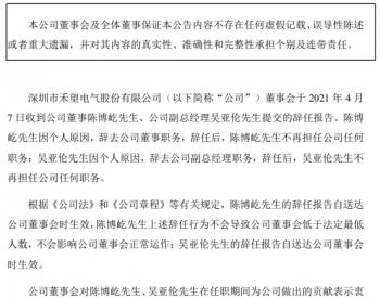 人事变动 | <em>禾望电气</em>董事陈博屹、副总经理吴亚伦辞职