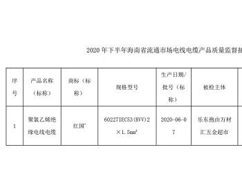 2020年下半年海南省<em>电线电缆</em>产品抽检:1批次不合格