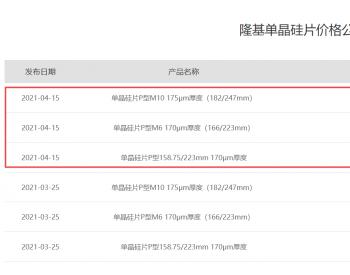 隆基硅片涨价:上涨0.25-0.3元/片,涨幅超6.5%