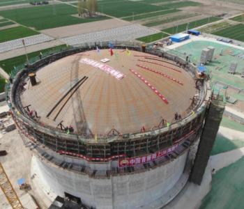 气化规模100万立方米/日!国内首座陆上LNG薄膜罐项目成功升顶