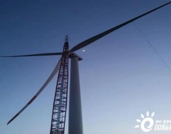 中广核内蒙古兴安盟300万千瓦革命老区风电扶贫项目一期工程B区风电场首台风机吊装成功