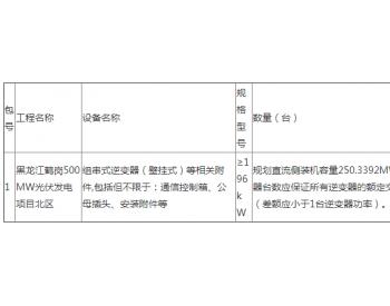 招标 | <em>龙源电力</em>龙源黑龙江鹤岗500MW光伏发电项目北区逆变器采购招标公告
