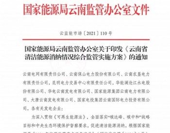《云南省清洁能源消纳情况综合监管实施方案》发布