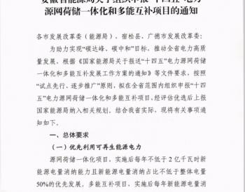 """安徽省能源局发布《关于组织申报""""十四五""""电力源网荷储一体化和多能互补项目的通知》"""