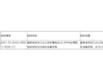招标 | 国家电投浙江分公司所属电站16.39MWp增容技改项目<em>光伏组件</em>采购招标