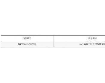 招标   广东省电力开发有限公司2021年第三批光伏组件采购招标公告