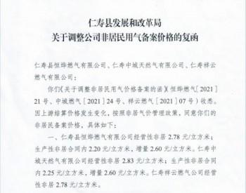 四川省眉山市仁寿县发展和改革局《关于调整公司非居民用气备案价格的复函》