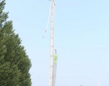 国家电投天津宁河古镇岳龙32MW风电项目首套塔筒顺利吊装