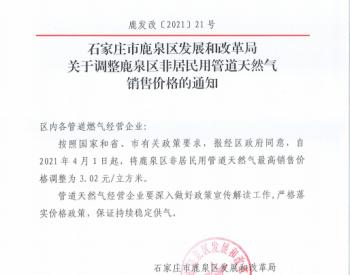 河北省石家庄市鹿泉区政府关于调整鹿泉区非居民用管道天然气销售价格的通知