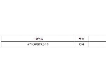 2021年2月份海南省液化石油气价格