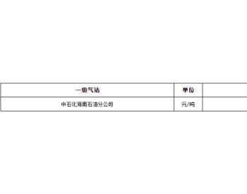 2021年6月份海南省液化石油气价格