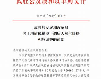 四川省广安市武胜县发改委关于增值税税率下调后天然气价格相应调整的通知