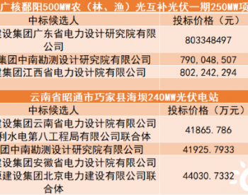中标 | 小EPC最高1.835元/瓦,中广核、三峡近500MW光伏项目EPC中标候选人公示