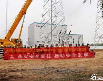 河北张北水泉风电场220kV送出线路工程首座铁塔组立成功