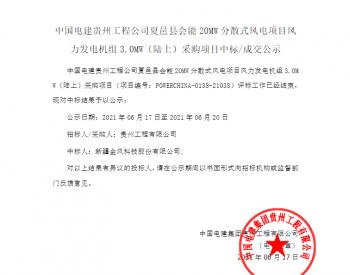 中标丨中国电建贵州工程公司河南夏邑县会能20MW分散式风电项目风力发<em>电机</em>组3.0MW(陆上)采购项目入围公示