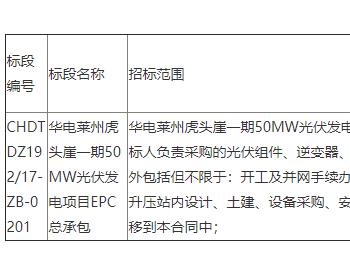 招标 | 华电山东莱州虎头崖一期50MW光伏发电项目主体工程EPC总承包招标公告