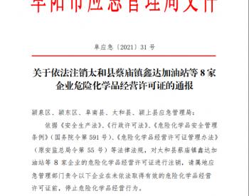 通报|关于依法注销太和县蔡庙镇鑫达加油站 等8家