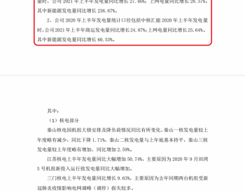 <em>中国核电</em>2021年1-6月发电量同比增长27.46%