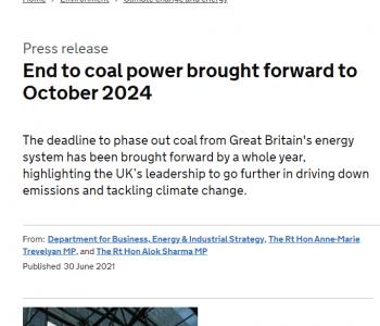 英国宣布2024年10月1日起停止燃煤发电,并敦促全球共同努力!