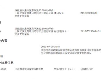 中标 | <em>江苏国强</em>中标深能酒泉肃州区东洞滩83.6MWp光伏项目增容部分固定可调光伏支架采购