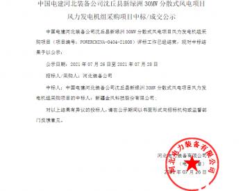 中标丨中国电建河北装备公司河南省沈丘县新绿洲30MW分散式风电项目风力发电机组采购项目入围公示