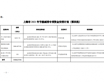 上海市发改委关于下达本市2021年节能减排专项资金