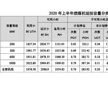 2020年上半年燃煤机组按容量分类的运行可靠性综合指标统计数据表