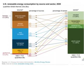 2020年美国光伏发电占可再生能源消费的11%,比201