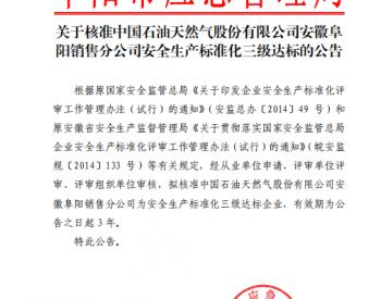 关于核准中国石油天然气股份有限公司安徽阜阳销售