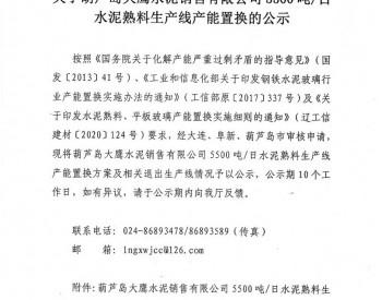 关于辽宁省葫芦岛大鹰水泥销售有限公司5500吨/日