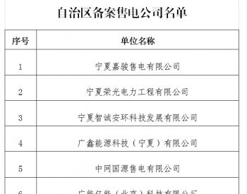 宁夏自治区发展改革委关于售电公司备案的公示